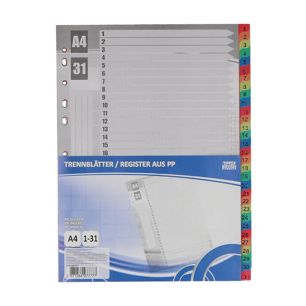 "TTO Separator ""1-31"" A4 PVC, 225x297mm, mix boja"