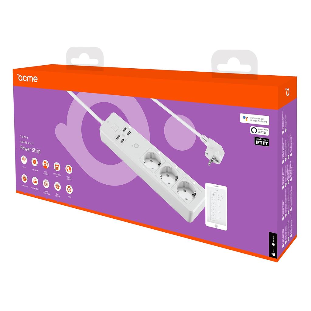 ACME Smart produžni kabl SH3103, WI-FI, 3 utičnice, 4 USB porta. Boja: bijela