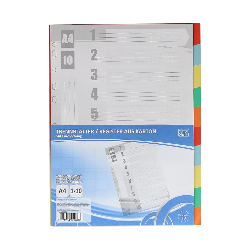 "TTO Separator ""1-10"" A4 karton, 227x297mm, mix boja"