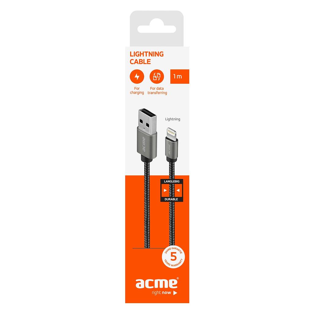 ACME Lightning/iPhone kabl CB2031G, 1 metar, pleteni. Boja: tamno siva