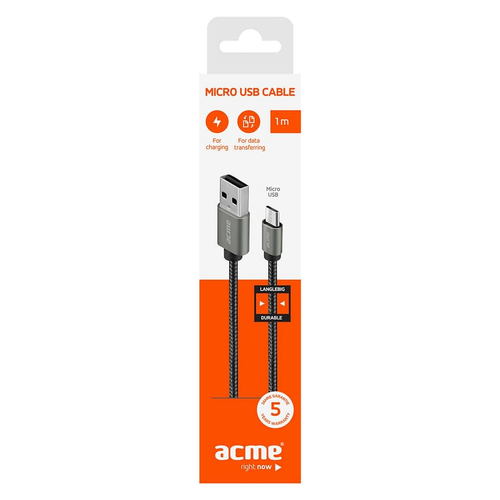 ACME Micro USB kabl CB2011G, 1 metar, pleteni. Boja: tamno siva