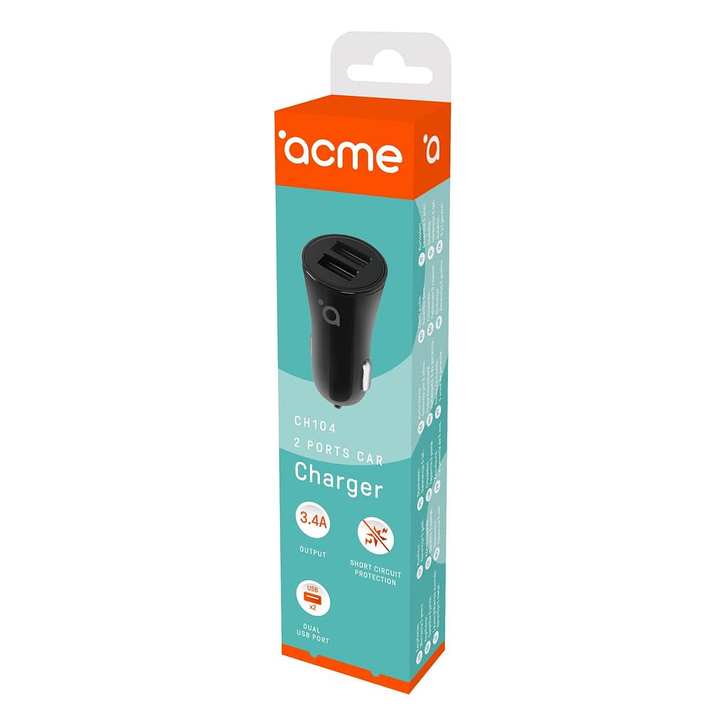 ACME Auto punjač CH104, 3.4A, 2xUSB