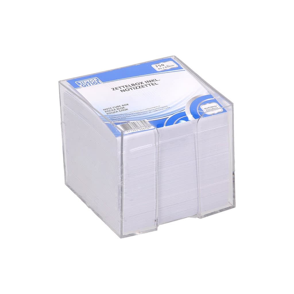 TTO Blok kocka u PVC kutiji 83x83mm, 750 lista. Boja: bijela