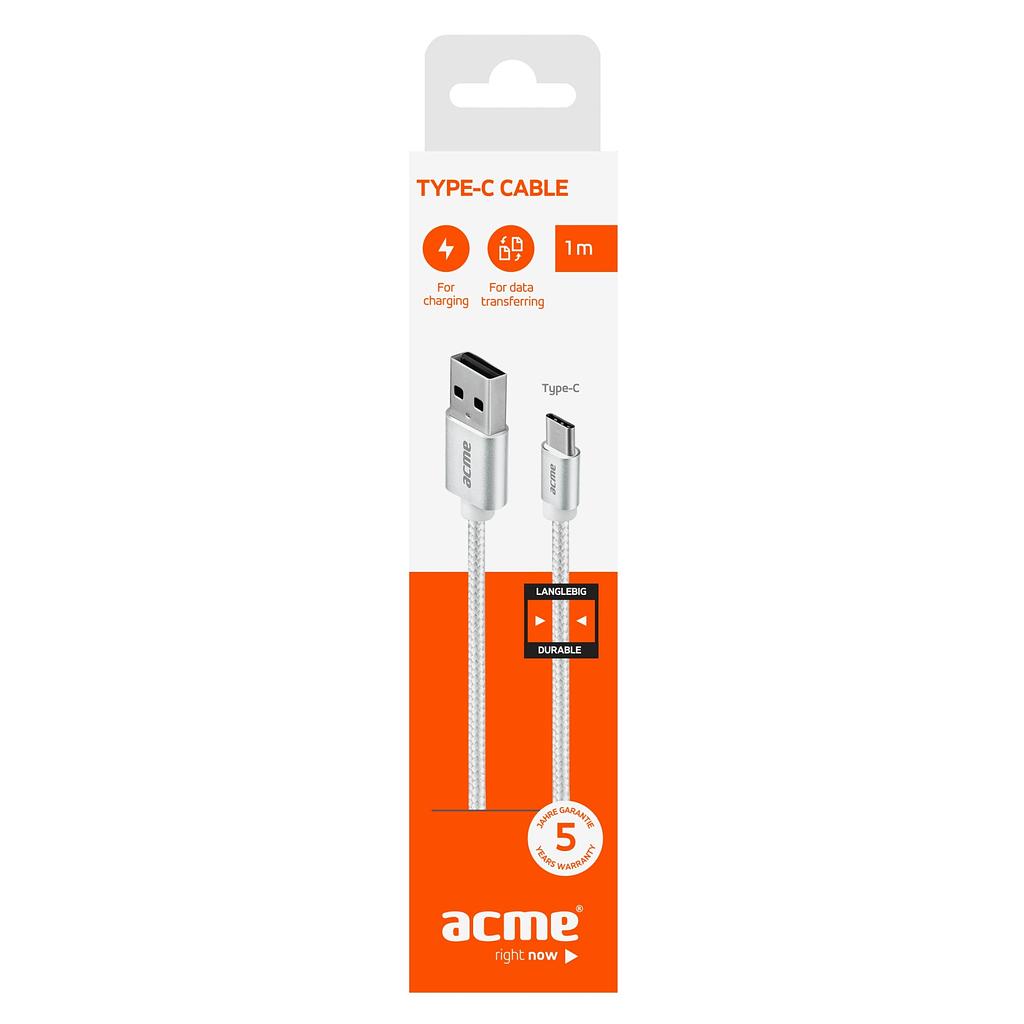 ACME Type C kabl CB2041S, 1 metar, pleteni. Boja: svijetlo siva