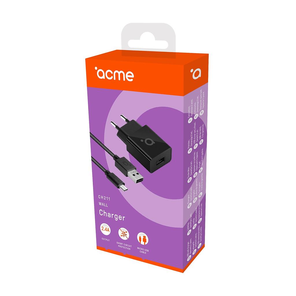 ACME Zidni punjač sa Micro USB kablom CH211, 2.4A, brzo punjenje
