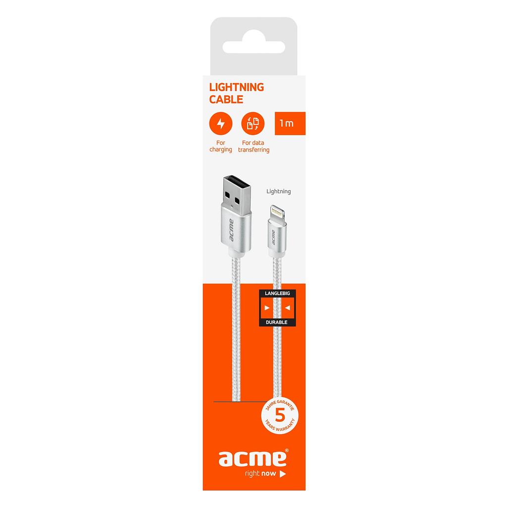 ACME Lightning/iPhone kabl CB2031S, 1 metar, pleteni. Boja: svijetlo siva