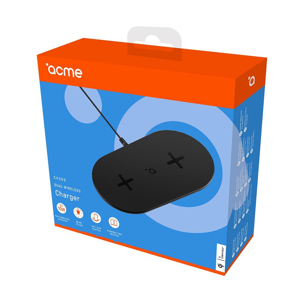 ACME Dupli Wireless/Bežični punjač CH305, 20W, adapter+kabl, Qi bežično punjenje
