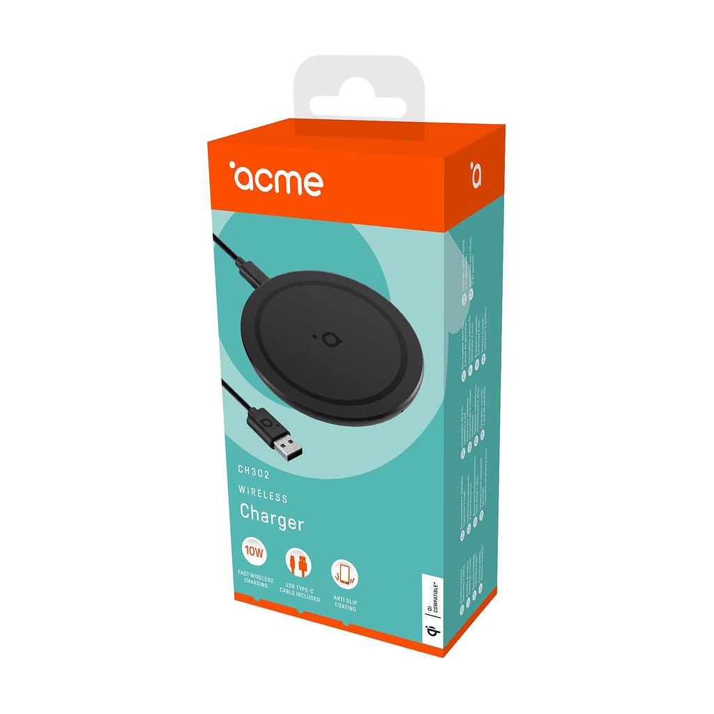 ACME Wireless/Bežični punjač CH302, 10W, USB Type-C kabl, Qi bežično punjenje