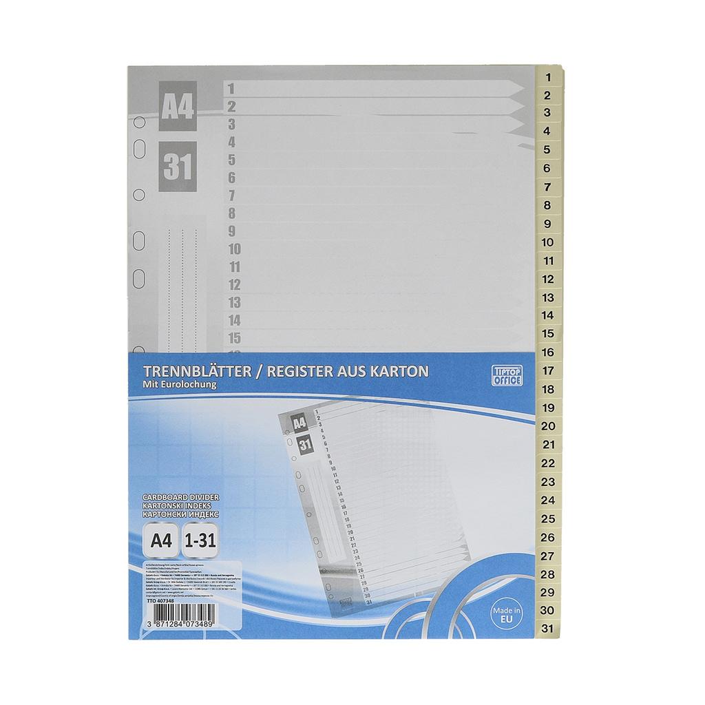 "TTO Separator ""1-31"" A4 karton, 227x297mm. bijeli"