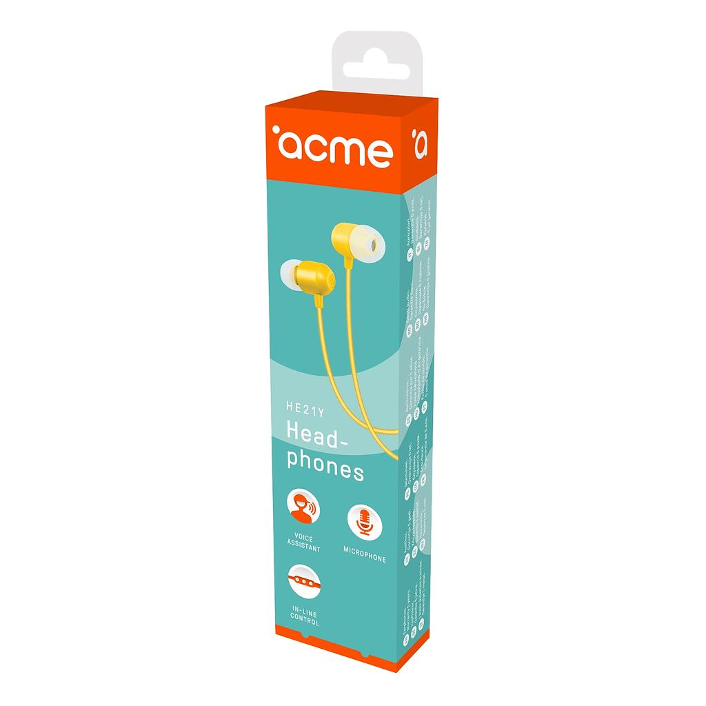 ACME Slušalice/bubice HE21Y. Boja: žuta