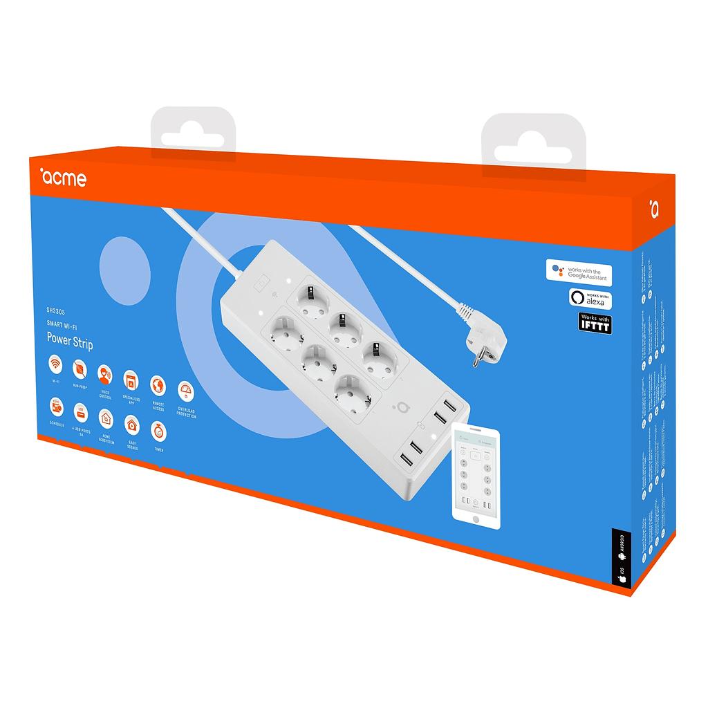 ACME Smart produžni kabl SH3305, WI-FI, 6 utičnica, 4 USB porta. Boja: bijela